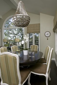 Oyster Shell Chandelier Dining Room Traditional with Coaster Dark Wood Floors