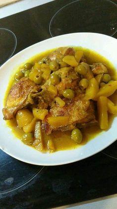 Poulet pommes de terre olives façon tajine