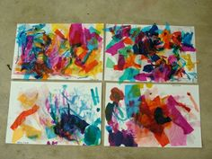 glue torn up pieces of tissue paper onto thick paper then paint liquid watercolours over the top
