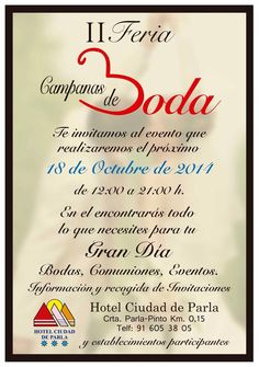 Bodas a Mares: II Feria Campanas de boda https://www.facebook.com/GlamourNoviasParla?ref=bookmarks
