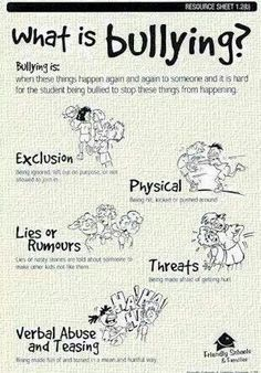 My baby girl is experiencing two of these examples of bulling and its the hardest thing we have had to go through.