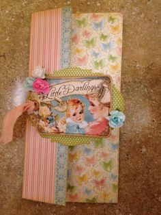 Beautiful trifold card by @adrienne Crist using Little Darlings. Love how she used the tag on this! #graphic45 #cards