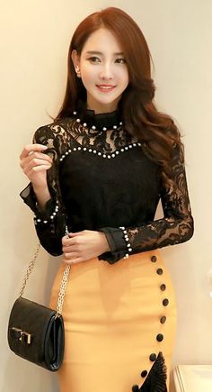 StyleOnme_Ruffle High Neck Pearl Detail See-through Floral Lace Blouse #black #seethrough #lace #formal #feminine #mustardyellow #fallfashion #kfashion