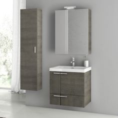 Bathroom Vanity, ACF ANS149, 23 Inch Grey Oak Bathroom Vanity Set ANS149