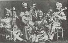 The Royal Musicians of Hindustan circa 1910: Ali Khan, Inayat Khan, Musheraff Khan and Maheboob Khan