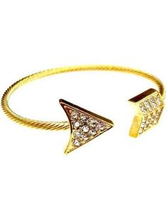 Love Hearts and Crosses - Gold Crystal Arrow Bangle - Shop Jewellery - Quirky Fashion Jewellery and Accessories