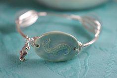 Seahorse Bangle Bracelet  Aqua Ceramic with by ByTheSeashoreDecor