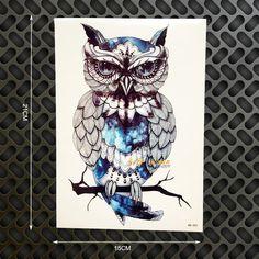1 ШТ. Белая Сова Хедвиг Дизайн Большой Втулки Татуировки Flash Временные Татуировки Наклейки 21x15 см Водонепроницаемый Хны татуировки Женщины Боди-Арт