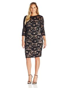 Adrianna Papell Women's Plus Size Carol Lace Contrast She...