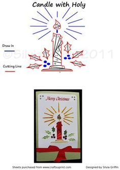 Candle With Holy on Craftsuprint designed by Silvia Griffin - May not just be… Iris Folding Templates, Iris Paper Folding, Iris Folding Pattern, Card Templates, Christmas Card Verses, Christmas Cards, Paper Cards, Folded Cards, Handmade Greetings