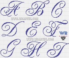 monogramas ponto cruz letras maiusculas minusculas - Pesquisa Google