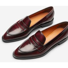 Everlane Women's Penny Loafers (9.885 RUB) ❤ liked on Polyvore featuring shoes, loafers, everlane shoes, oxblood shoes, oxblood leather shoes, oxblood penny loafers and oxblood loafers