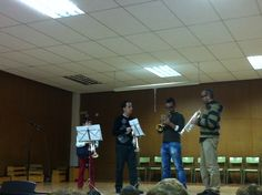 Quartet de trompetes: Daniel, Óscar, Carlos i el professor, Salva García (25-3-2013).
