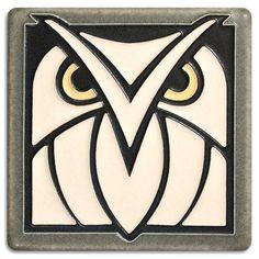 Dark oak owl tile made in Ann Arbor Michigan by Motawi Tileworks