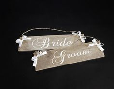 Personalized Rustic Bridal Chair Signs by ExclusivelyYourLLC