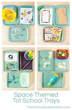Space Themed Tot School Trays - Moms Have Questions Too
