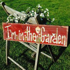 Rustic Garden Decor, Outdoor Garden Decor, Rustic Gardens, Garden Crafts, Garden Projects, Garden Ideas, Garden Art, Primitive Wood Signs, Red Sign