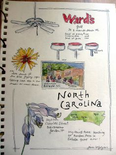 North Carolina from JaneVille by Jane LaFazio. This gave me the idea to buy a sketchbook and put photos and creative writing. I haven't visited all 50 yet but will.