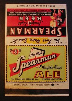 Irtp 1935 Spearman ACE High ALE Straight 8 Beer Matchbook Pensacola FLA | eBay
