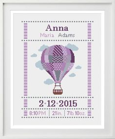 Cross stitch baby birth sampler birth announcement hot air balloon in purples Birth Gift, Baby Birth, Baby Boy Newborn, Baby Boys, Air Balloon, Balloons, Cross Stitch Baby, Newborn Baby Photography, Alphabet And Numbers