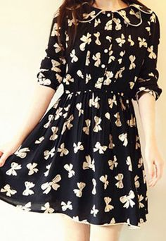 Price:$29.99 Color: As picture Material: Cotton Sweet Butterfly Print Slim Black Shirred Long Sleeve Dress