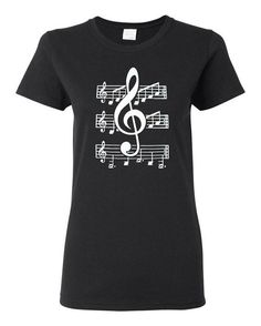 Womens Music Notation T Shirt, Black