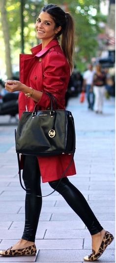 Love the red trench coat