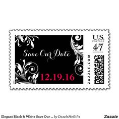 Elegant Black & White Save Our Date Postage Stamp