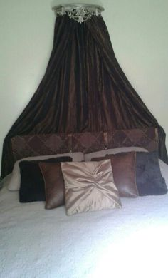 photos of master bedrooms bed with no headboard so got creative and used a curtain 16643