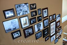 Inspiration for our stair gallery wall...now I just need my butt kicked into action & get it done.