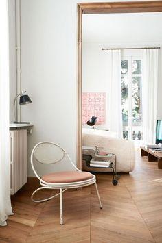 subtle pink, wood, white walls, modern furniture, Scandinavian design, light #BurnsHouseInspo kinfolk book / jonas ingerstedt photography