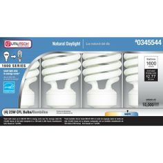 108 Bulbs Utilitech DAYLIGHT 23-watt =100 Watt Equivalent Energy Star by Utilitech. $249.00. 27 separate boxes of 100 watt  4 packs=108 bulbs total you will receive. 4-Pack 100-Watt Equivalent Daylight Compact Fluorescent Light Bulb ENERGY STAR  Mini twist light bulb   Uses 23 watts for 1600 lumens of brightness.   Bulb life is 10000 hours. Medium base that is frequently used for table lamps, enclosed fixtures and bare lamp.  Designed for indoor or enclosed outdoor use only. ...