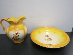Arnels Yellow floral art Wash Basin and Pitcher