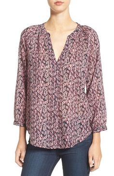 b88f5a00f32938 PAIGE  Sammy  Split Neck Cotton Top available at  Nordstrom Cotton