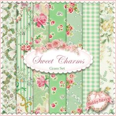 Mary Rose Sweet Charms  Grass 7 FQ Set by Quilt Gate: Mary Rose is a time-tested group of fabrics by QuiltGate.  These fabrics are from the Sweet Charms collection.  100% cotton.  This set contains 7 fat quarters, each measuring approximately 18 x 21.