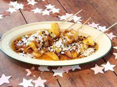 Brochettes de mango y anana