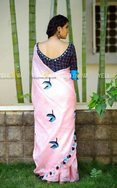 Baby Pink Linen bird embroidered saree teamed up with khadi cotton checks blouse with mirror work neckline .Price - 4299 (Including blouse material + work )Kindly whatsapp @ 7995038888 for placing Orders . Kerala Saree Blouse Designs, Cotton Saree Blouse Designs, Best Blouse Designs, Blouse Back Neck Designs, Bridal Blouse Designs, Stylish Blouse Design, Designer Blouse Patterns, Bollywood, Mirror Work