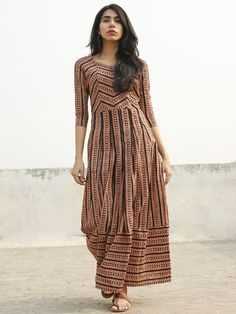 Beige Black Red Orange Long Hand Block Cotton Stripe Dress With Box Pleats - D140F1077
