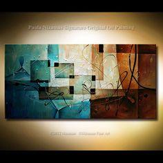 "Original Abstract painting, Earth Tones, Blues, Sienna, Ochre, Ready to Hang by P. Nizamas 48"""