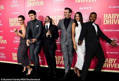 Star-studded cast: Baby Driver, which was directed by Edgar Wright (centre), stars Lily, Ansel Elgort, Jon Hamm, Eiza González and Jamie Foxx (left to right)