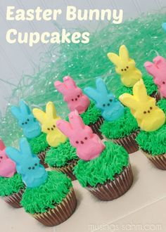 Easter bunny cupcakes!  These are really cute!