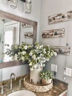 Master Bathroom Makeover Reveal- Farmhouse Style - Decoration For Home Decor, Master Bathroom Makeover, Farm House Living Room, Bathroom Decor, Bathroom Remodel Master, Farmhouse Bathroom Decor, Home Decor, Bathroom Design, Rustic Farmhouse Decor