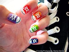 Hottest Snap Shots Nail design for kids Tips , 17 Colorful And Easy Nail Art Designs For Summers How To Do Nails, Fun Nails, Pretty Nails, Cute Nail Art, Easy Nail Art, Converse Nail Art, Converse Shoes, Converse Style, Converse Design