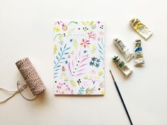 Floral Watercolour Notebook Watercolor Illustration, Floral Watercolor, Watercolour, A5 Notebook, Lined Notebook, Lined Page, Belly Bands, Card Stock, Envelope