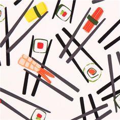 white sushi fabric Robert Kaufman Chopsticks Please!