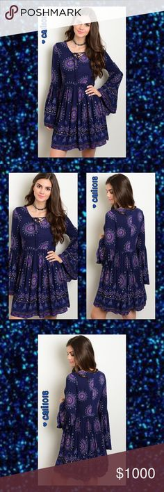 """⭐️⭐️COMING IN 2-3 DAYS RESERVE YOUR SIZE TODAY⭐️⭐️ New Boho Navy Long Bell Sleeve Paisley Print Lace Up Dress Made in China Color: Navy Paisley Print Features: Lace Up Trend; Bell Sleeve; Paisley Print Material: 100% Rayon Fits true to size: Young Contemporary Fit Size: Small, Medium, Large  Approx Measurements taken from size Small: Bust: 30"""" Waist: 26"""" Length: 34""""  ‼️ PRICE FIRM UNLESS BUNDLED‼️ NO TRADES ‼️ ALL LOWBALL OFFERS WILL BE IGNORED‼️ Glam Squad 2 You Dresses"""