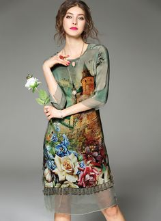 Chiffon Floral 3/4 Sleeves Knee-Length A-line Dress - Floryday