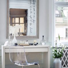 Dresser space, I love the clear plastic chair too!
