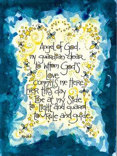 Guardian Angel Prayer Art Print Firefly Lightning by DovetailInk