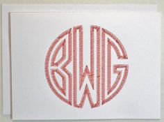 Gorgeous embroidered notecards. A set of these would make such a great wedding/shower gift. Unique Embroidered Monogram Notecards